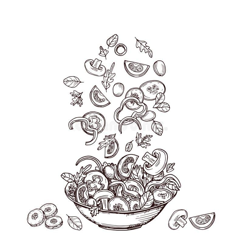 Συρμένη χέρι σαλάτα Φέτες φρέσκων λαχανικών που πέφτουν στο σαλάτα-κύπελλο Πράσινη διατροφή σαλατών και υγιεινή έννοια σκίτσων τρ διανυσματική απεικόνιση
