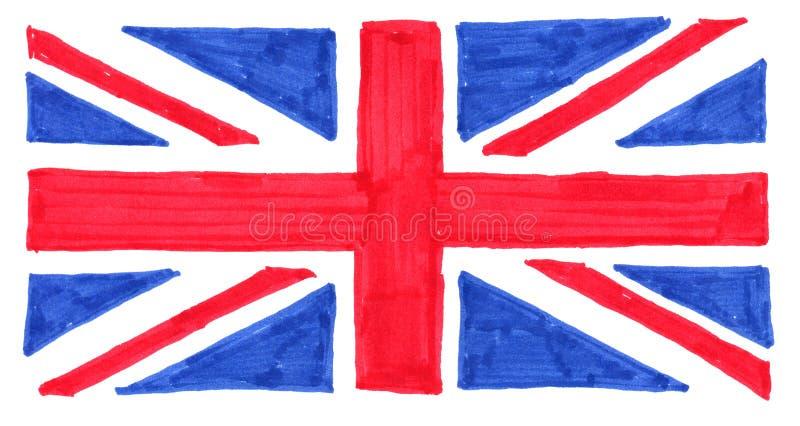 συρμένη χέρι σημαία του Ηνωμένου (UK) aka Union Jack στοκ εικόνες με δικαίωμα ελεύθερης χρήσης