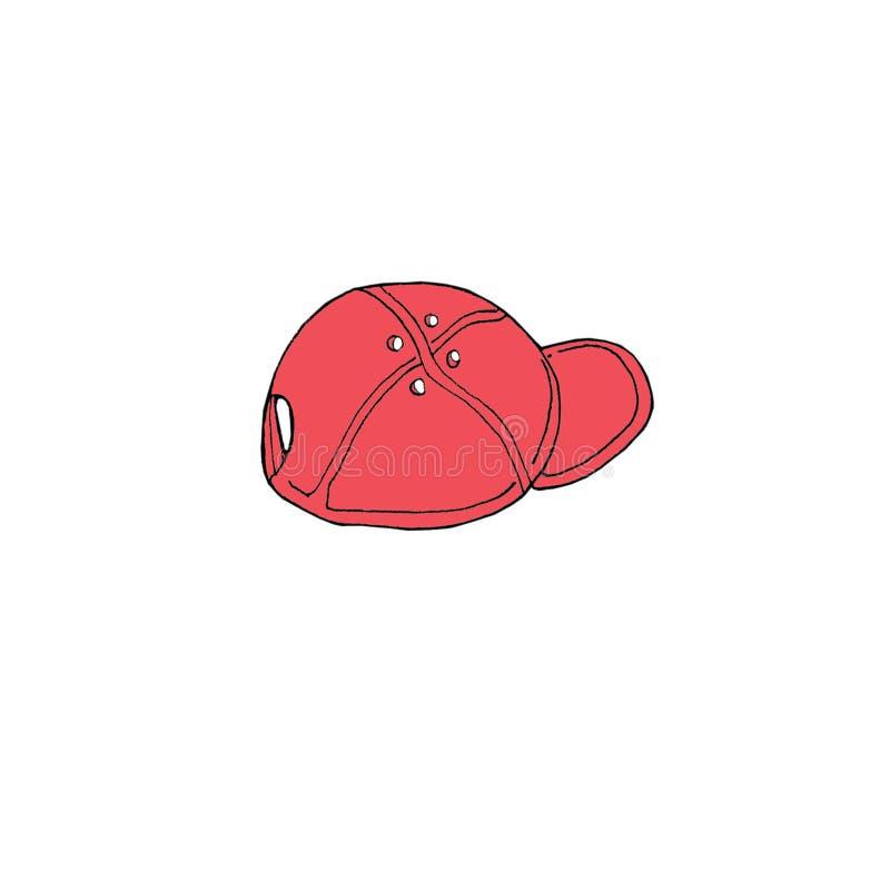 Συρμένη χέρι σκίτσων μόδα ΚΑΠ μπέιζ-μπώλ απεικόνισης κόκκινη στο άσπρο υπόβαθρο ελεύθερη απεικόνιση δικαιώματος