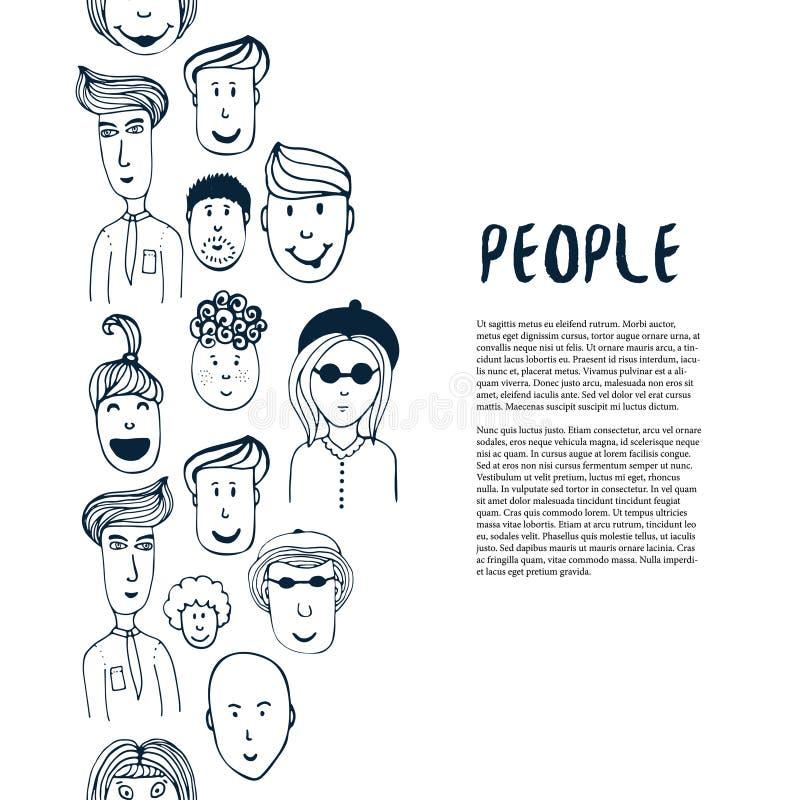 Συρμένη χέρι συλλογή ανθρώπων σκίτσων Διανυσματικό επιχειρησιακό πρότυπο σχεδίου Σύνορα με τους ανθρώπους για το ιπτάμενο, έμβλημ διανυσματική απεικόνιση