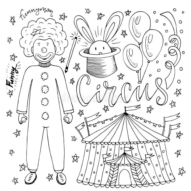 Συρμένη χέρι συλλογή τσίρκων με τον κλόουν, το μπαλόνι, τη σκηνή και το μαγικό κουνέλι Χρωματίζοντας σελίδα βιβλίων για τα παιδιά διανυσματική απεικόνιση