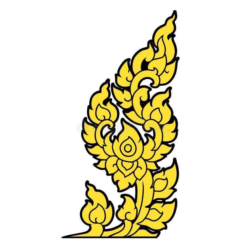 Συρμένη χέρι ταϊλανδική τέχνη γραμμών ελεύθερη απεικόνιση δικαιώματος