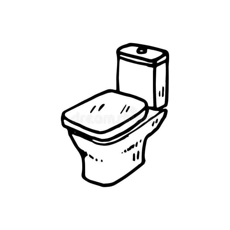 Συρμένη χέρι τουαλέτα doodle Εικονίδιο ύφους σκίτσων Στοιχείο διακοσμήσεων ελεύθερη απεικόνιση δικαιώματος