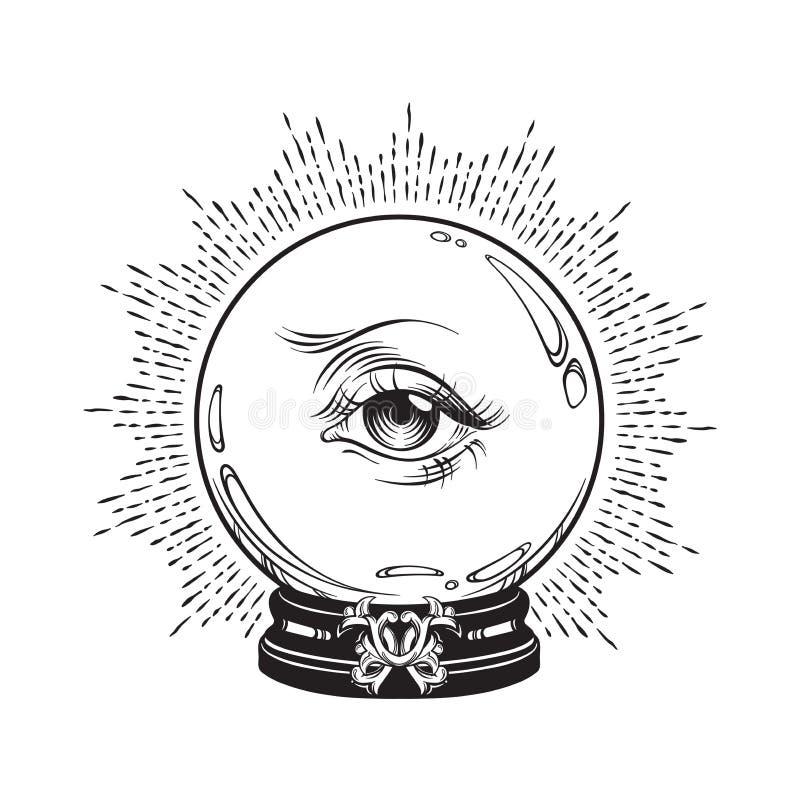 Συρμένη χέρι τύχη που λέει τη μαγική σφαίρα κρυστάλλου με το μάτι της πρόνοιας Κομψή δερματοστιξία τέχνης γραμμών Boho, αφίσα ή τ απεικόνιση αποθεμάτων