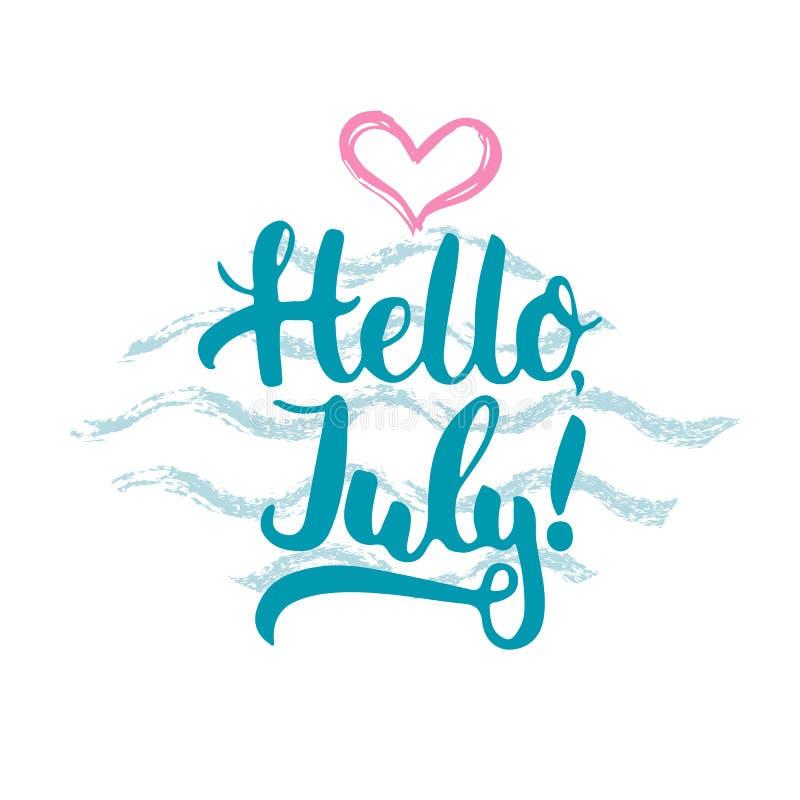 Συρμένη χέρι φράση εγγραφής τυπογραφίας γειά σου, Ιούλιος με την καρδιά και κύματα στο άσπρο υπόβαθρο Διασκέδαση ελεύθερη απεικόνιση δικαιώματος