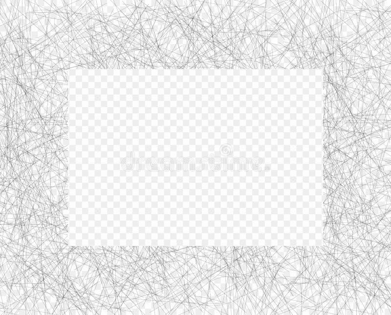 Συρμένη χέρι χαοτική γραμμή που σκιάζει το πλαίσιο μολυβιών Πλάγια γκρίζα λεπτή κακογραφία, Doodle, επίχρισμα Διανυσματική επικάλ διανυσματική απεικόνιση