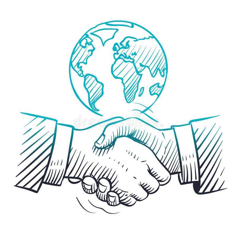 Συρμένη χέρι χειραψία Διεθνής επιχειρησιακή έννοια με τη χειραψία και τη σφαίρα Σφαιρική ηγεσία συνεργασίας σκίτσων ελεύθερη απεικόνιση δικαιώματος