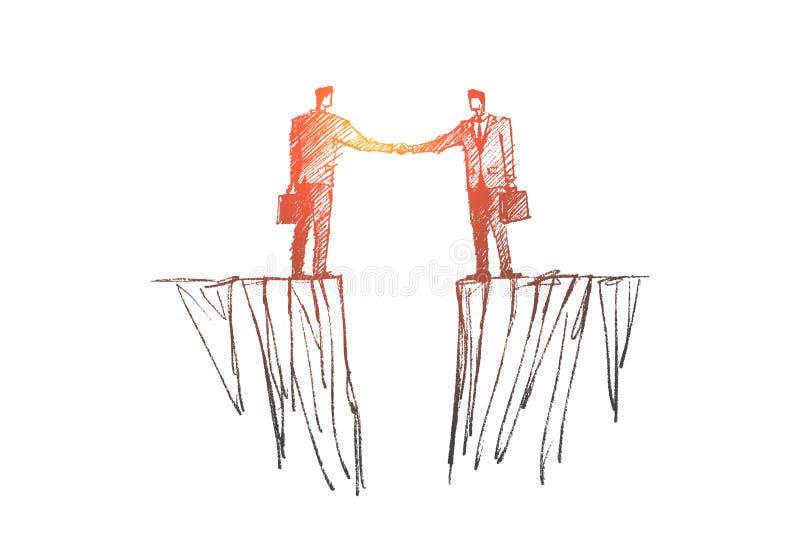 Συρμένη χέρι χειραψία δύο επιχειρηματιών πέρα από το χάσμα διανυσματική απεικόνιση