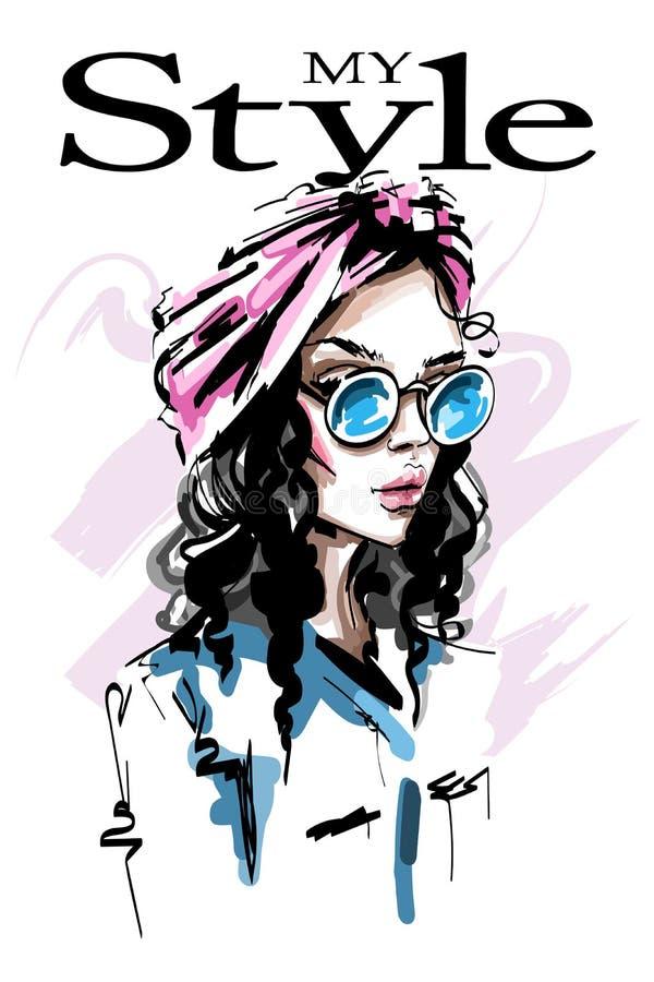Συρμένη χέρι όμορφη νέα γυναίκα με headband στην τρίχα της Μοντέρνο κομψό κορίτσι γυναίκα πορτρέτου μόδας απεικόνιση αποθεμάτων