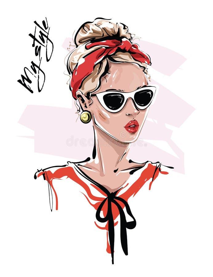 Συρμένη χέρι όμορφη νέα γυναίκα στα γυαλιά ηλίου Μοντέρνο κορίτσι με κόκκινο headband Η γυναίκα μόδας κοιτάζει r ελεύθερη απεικόνιση δικαιώματος
