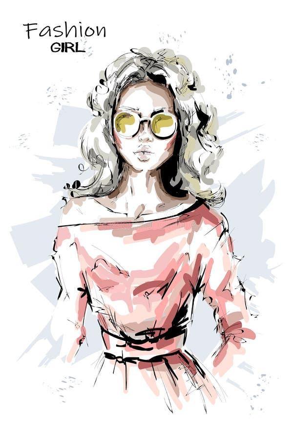 Συρμένη χέρι όμορφη νέα γυναίκα στα γυαλιά ηλίου Μοντέρνο ξανθό κορίτσι τρίχας Η γυναίκα μόδας κοιτάζει σκίτσο διανυσματική απεικόνιση
