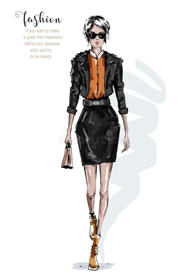 Συρμένη χέρι όμορφη νέα γυναίκα στο σακάκι και τη φούστα δέρματος Μοντέρνο κορίτσι στα γυαλιά ηλίου Η γυναίκα μόδας κοιτάζει r απεικόνιση αποθεμάτων