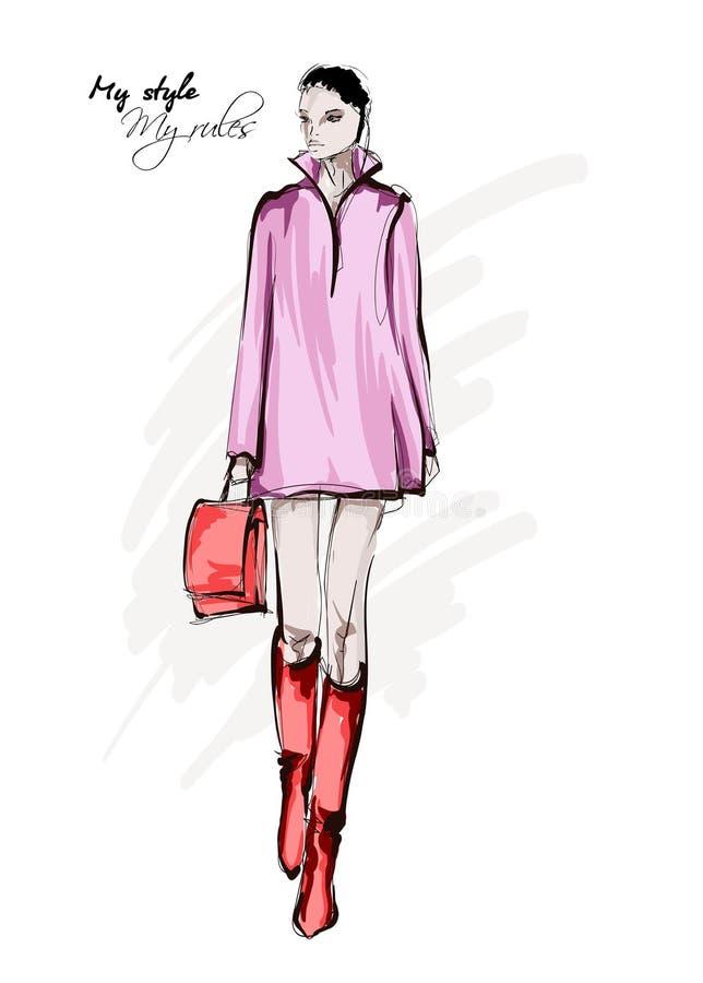 Συρμένη χέρι όμορφη νέα γυναίκα στο φόρεμα r Η γυναίκα μόδας κοιτάζει Πρότυπο θέτοντας σκίτσο μόδας απεικόνιση αποθεμάτων