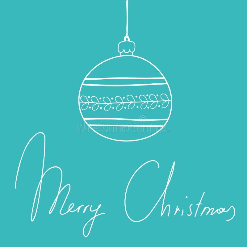 Συρμένη χέρι doodle περιγραμματική ευχετήρια κάρτα Χριστουγέννων Χαρούμενα Χριστούγεννα εγγραφής χεριών σφαιρών διακοσμήσεων στο  στοκ εικόνες