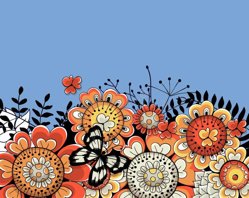 Συρμένη χέρι floral κάρτα απεικόνιση αποθεμάτων