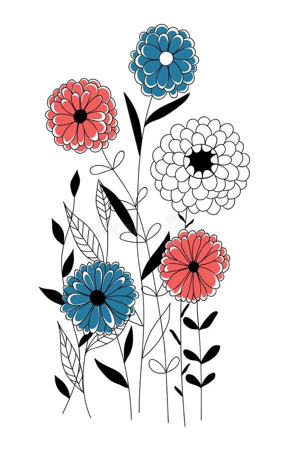 Συρμένη χέρι floral κάρτα ελεύθερη απεικόνιση δικαιώματος