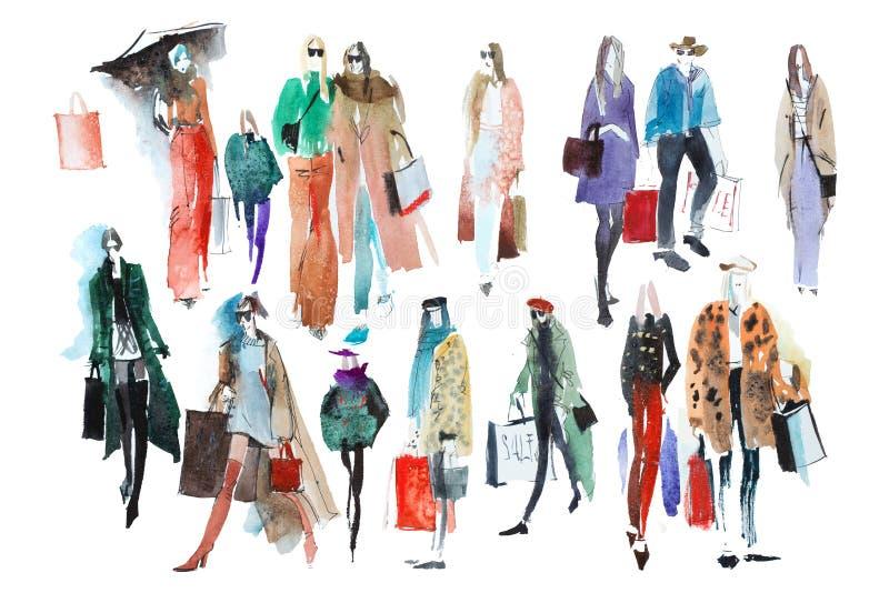 Συρμένοι χέρι άνθρωποι watercolor με τις τσάντες αγορών Μόδα, πώληση στοκ εικόνα με δικαίωμα ελεύθερης χρήσης