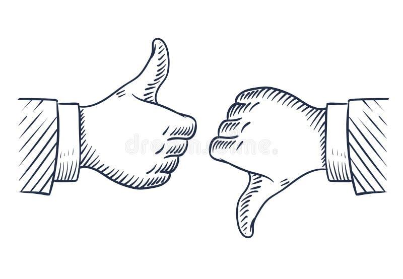 Συρμένοι χέρι αντίχειρες πάνω-κάτω Όπως και αντίθετα από απομονωμένα τα επιχείρηση διανυσματικά σύμβολα σκίτσων διανυσματική απεικόνιση