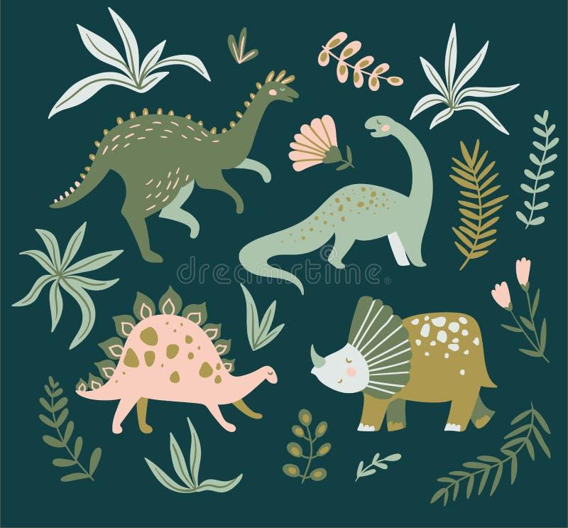 Συρμένοι χέρι δεινόσαυροι, τροπικά φύλλα και λουλούδια Χαριτωμένο σχέδιο του Dino επίσης corel σύρετε το διάνυσμα απεικόνισης ελεύθερη απεικόνιση δικαιώματος