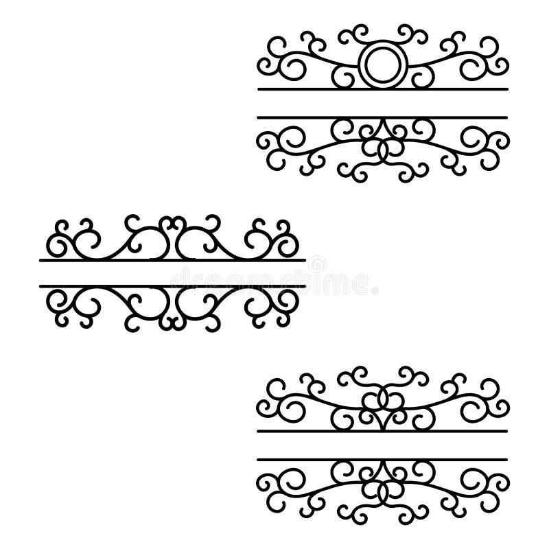 Συρμένοι χέρι διαιρέτες Γραμμές σπασιμάτων Διασπασμένα πλαίσια Διαιρέτης κειμένων Μονογράμματα ταχυδρομικών θυρίδων ελεύθερη απεικόνιση δικαιώματος