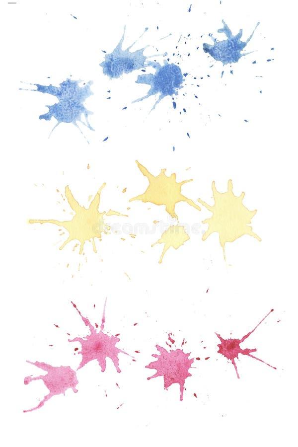 Συρμένοι χέρι ζωηρόχρωμοι αφηρημένοι λεκέδες watercolor απεικόνιση αποθεμάτων