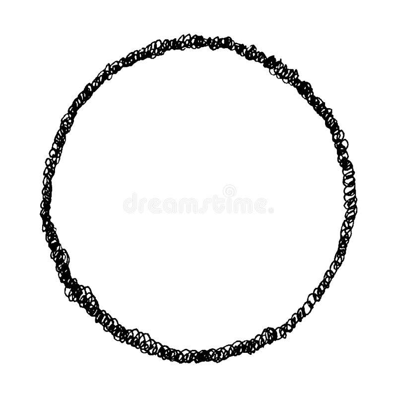 Συρμένοι χέρι σκίτσων στρόβιλοι circlewith ύφους μονοχρωματικοί διανυσματικοί, τραχύς και χαοτικός απεικόνιση αποθεμάτων