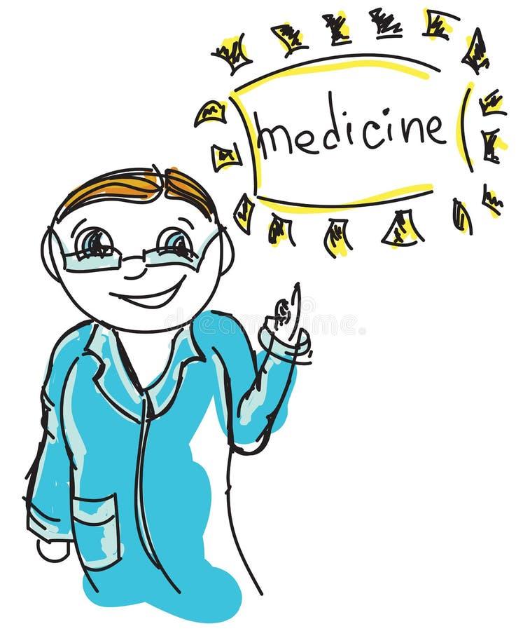 Συρμένος έγχρωμος γιατρός διανυσματική απεικόνιση