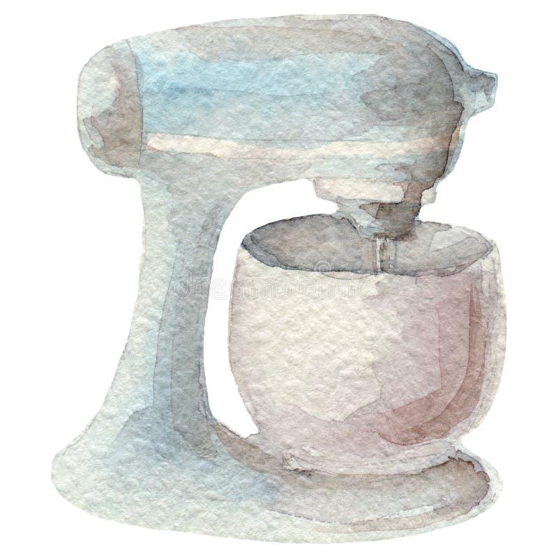 Συρμένος χέρι αναμίκτης watercolor στο άσπρο υπόβαθρο Σειρά εργαλείων κουζινών απεικόνιση αποθεμάτων