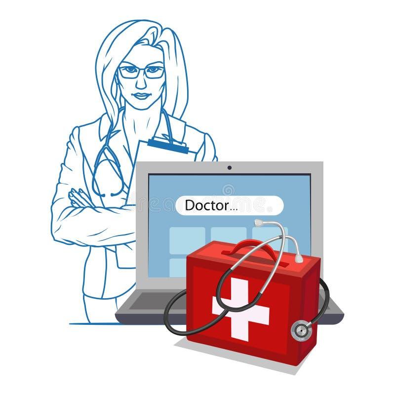 Συρμένος χέρι γιατρός Παραϊατρικός χαρακτήρας κινούμενων σχεδίων Γιατρός με το στηθοσκόπιο Μπάλωμα υγειονομικής περίθαλψης Σε απε διανυσματική απεικόνιση