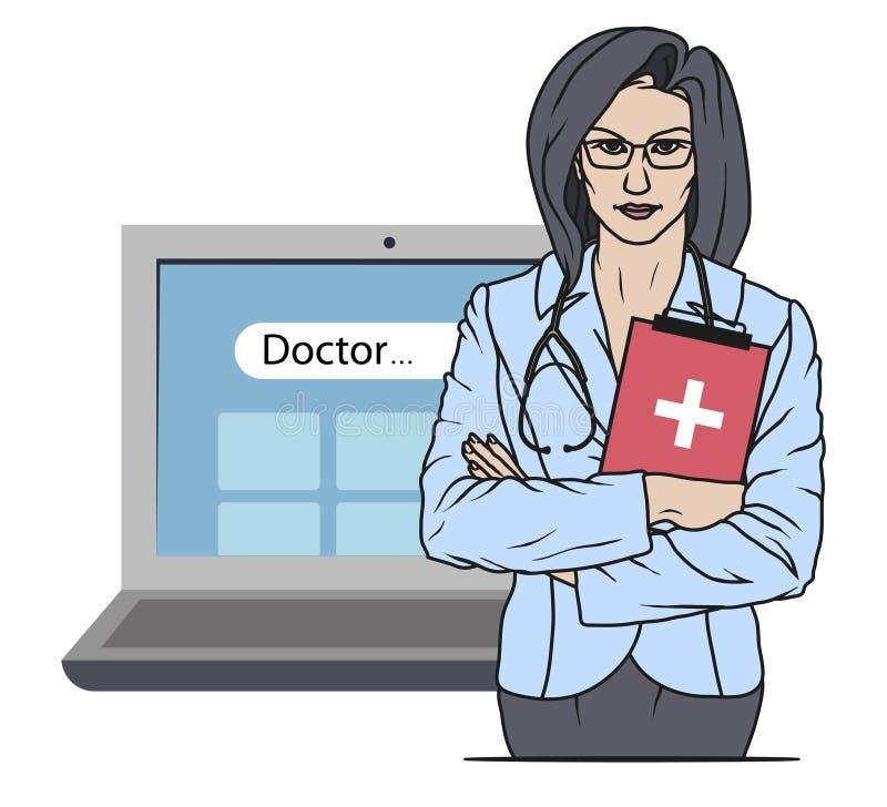 Συρμένος χέρι γιατρός Παραϊατρικός χαρακτήρας κινούμενων σχεδίων Γιατρός με το στηθοσκόπιο Μπάλωμα υγειονομικής περίθαλψης Σε απε απεικόνιση αποθεμάτων