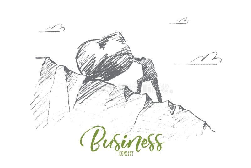 Συρμένος χέρι επιχειρηματίας που κυλά τη μεγάλη πέτρα επάνω διανυσματική απεικόνιση