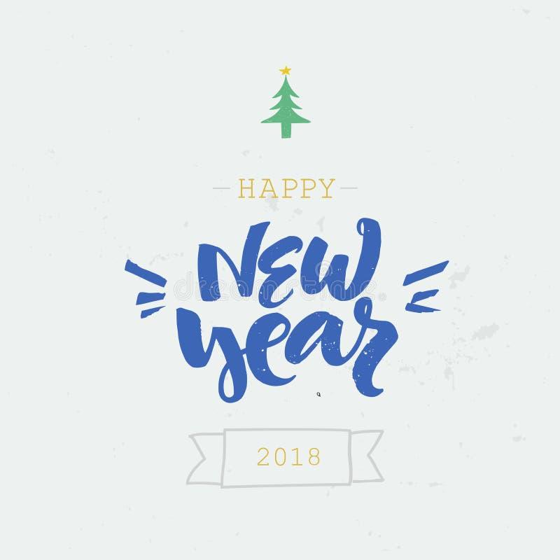 Συρμένος χέρι ευτυχής κόβει την εγγραφή έτους Τέλειο σχέδιο Χριστουγέννων για τις ευχετήριες κάρτες και τις προσκλήσεις διανυσματική απεικόνιση