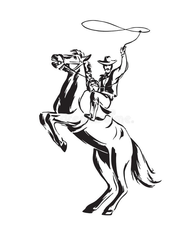 Συρμένος χέρι κάουμποϋ με το λάσο στην εκτροφή του αλόγου Διανυσματική απεικόνιση ροντέο Ο Μαύρος που απομονώνεται στο άσπρο υπόβ διανυσματική απεικόνιση