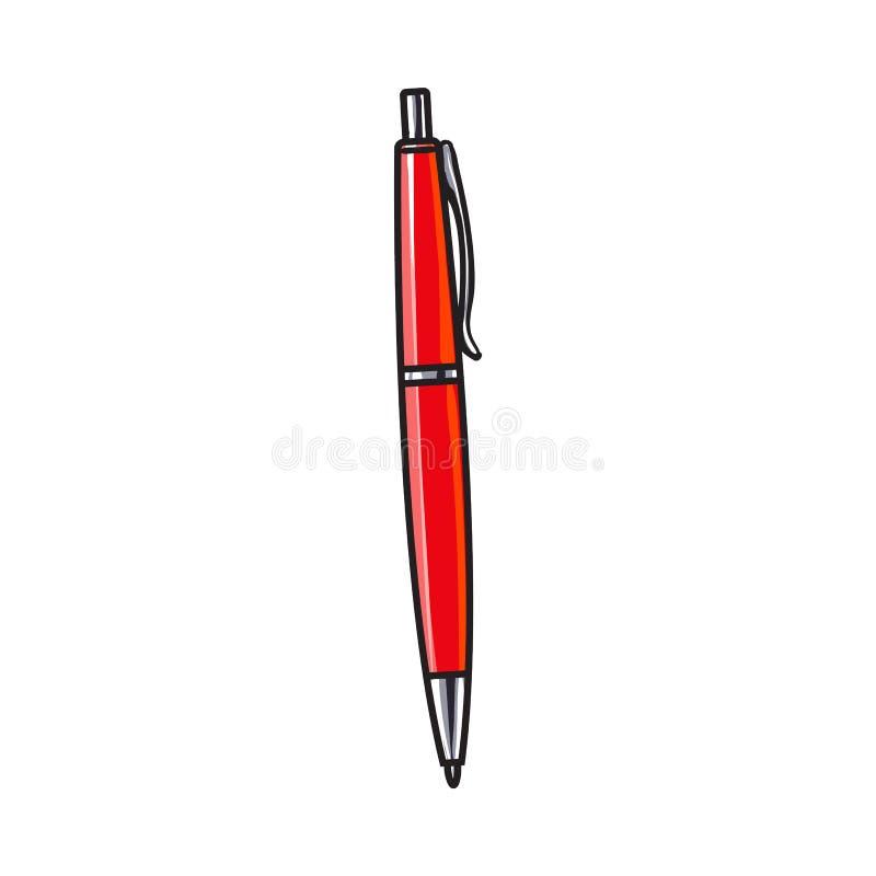 Συρμένος χέρι κόκκινος στυλός σημείου σφαιρών, ανεφοδιασμός γραφείων, εξάρτημα γραψίματος διανυσματική απεικόνιση