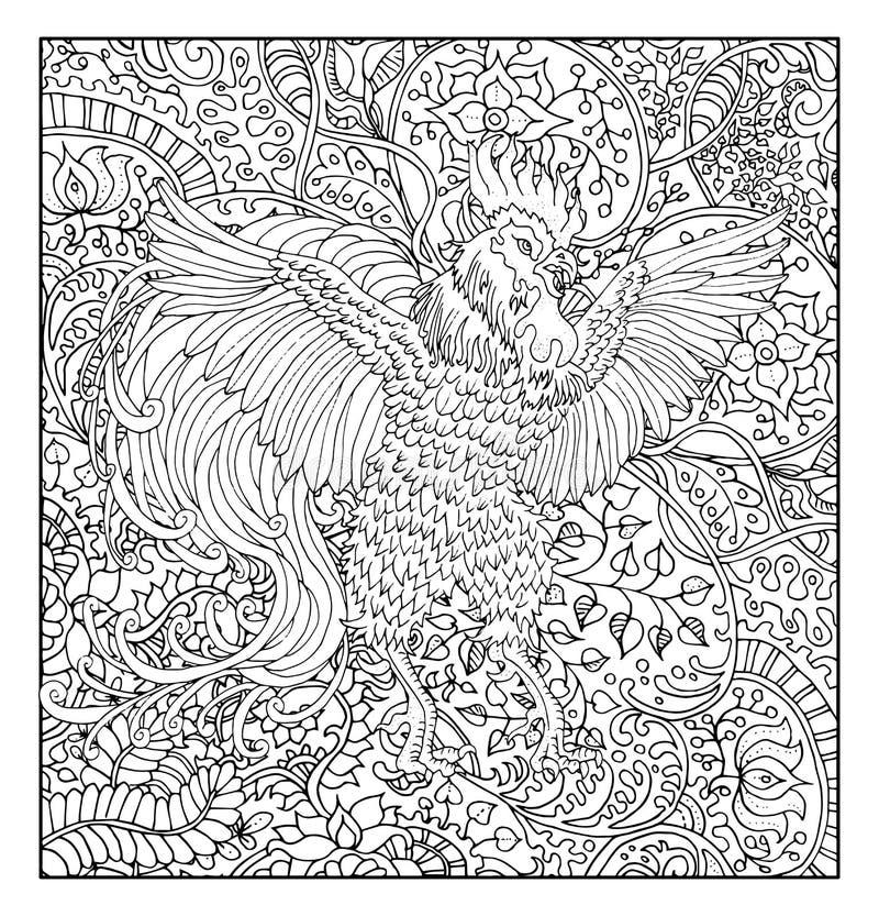 Συρμένος χέρι κόκκορας στο floral κλίμα σχεδίων ελεύθερη απεικόνιση δικαιώματος