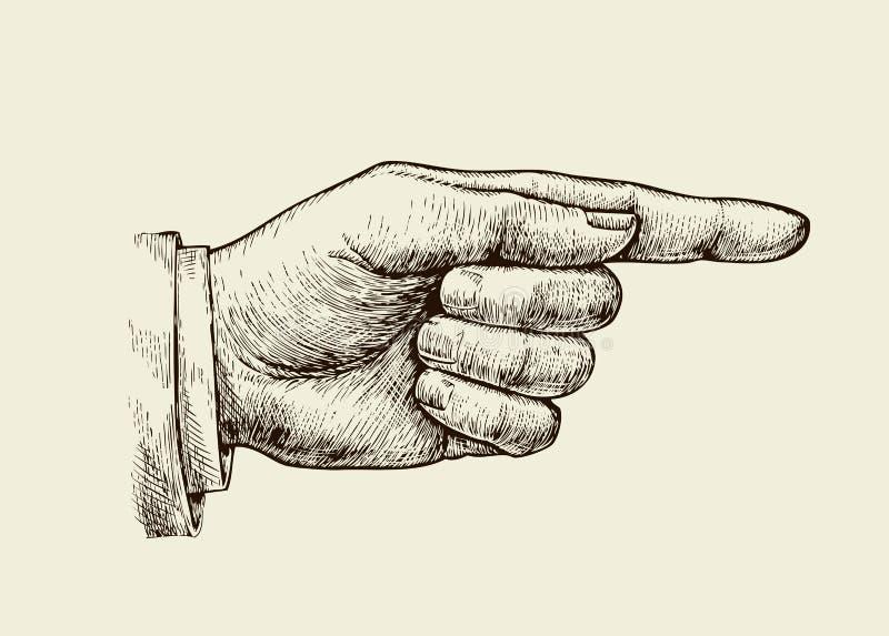 Συρμένος χέρι τρύγος Αναδρομικός αντίχειρας σκίτσων επίσης corel σύρετε το διάνυσμα απεικόνισης διανυσματική απεικόνιση