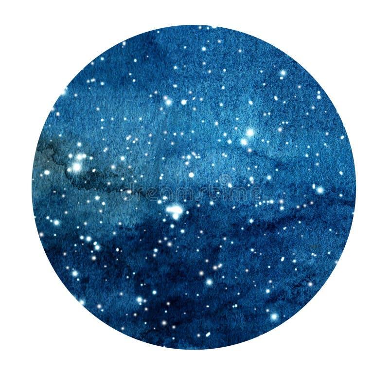 Συρμένος χέρι τυποποιημένος γαλαξίας ή νυχτερινός ουρανός grunge με τα αστέρια Διαστημικό υπόβαθρο Watercolor ελεύθερη απεικόνιση δικαιώματος