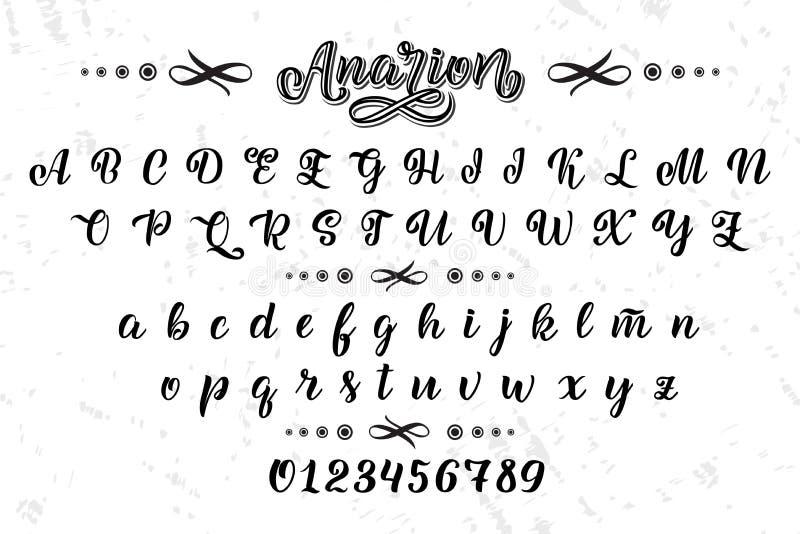 Συρμένος χέρι χαρακτήρας Χρωματισμένες βούρτσα επιστολές Χειρόγραφο αλφάβητο χειρογράφων που απομονώνεται στο άσπρο υπόβαθρο Χειρ διανυσματική απεικόνιση