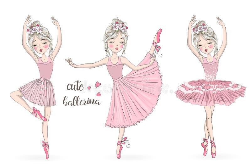 Συρμένος χέρι όμορφος, καλός, λίγο κορίτσι ballerina με τις φακίδες και τα λουλούδια στο κεφάλι της ελεύθερη απεικόνιση δικαιώματος