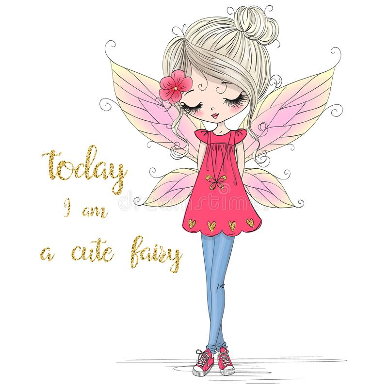 Συρμένος χέρι όμορφος χαριτωμένος λίγο κορίτσι νεράιδων με τα φτερά και τα πάνινα παπούτσια ελεύθερη απεικόνιση δικαιώματος