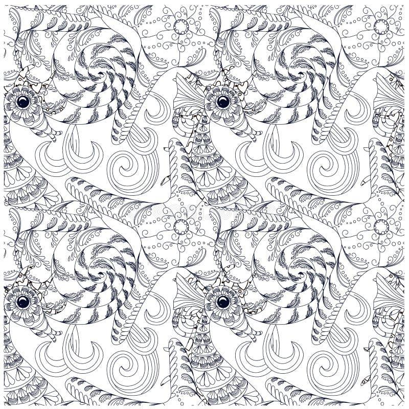 Συρμένος χέρι doodle αστερίας, κοχύλι, άλογο θάλασσας στα κύματα ελεύθερη απεικόνιση δικαιώματος
