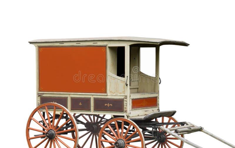Συρμένο άλογο βαγόνι εμπορευμάτων παράδοσης που απομονώνεται στοκ εικόνες
