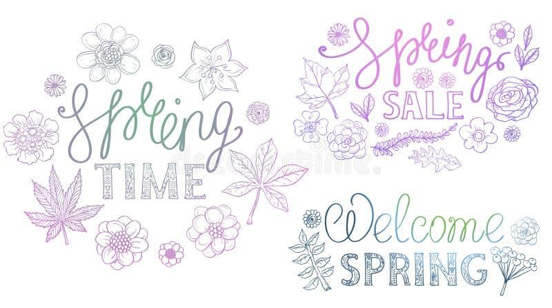 Συρμένο αναδρομικό σχέδιο εγγραφής άνοιξη χέρι με τα floral διακοσμητικά στοιχεία απεικόνιση αποθεμάτων