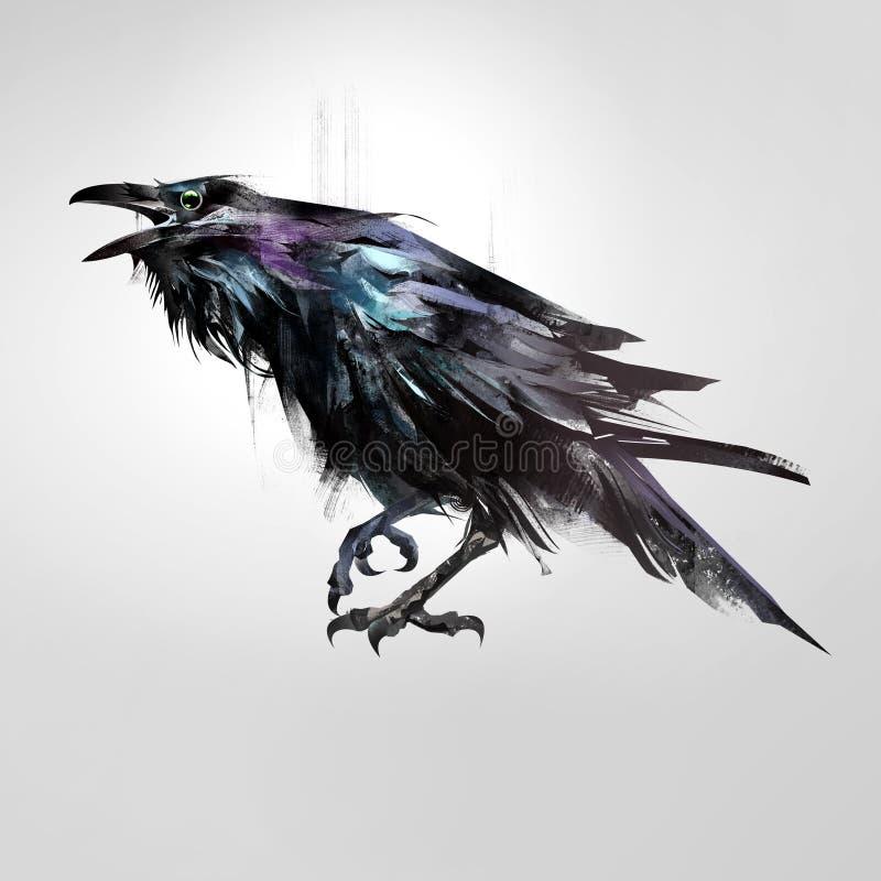 Συρμένο απομονωμένο χρωματισμένο κοράκι συνεδρίασης πουλιών ελεύθερη απεικόνιση δικαιώματος
