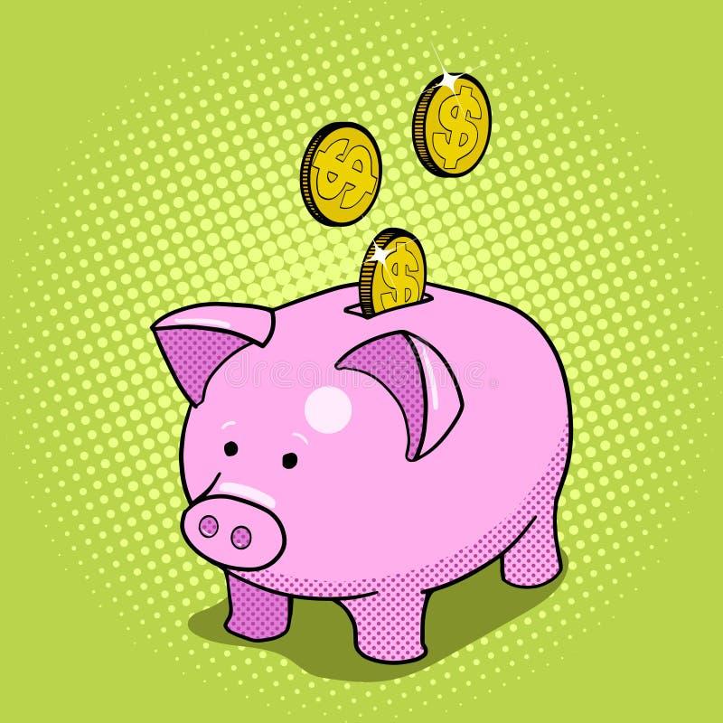 Συρμένο λαϊκό διάνυσμα ύφους τέχνης τραπεζών Piggy χέρι διανυσματική απεικόνιση