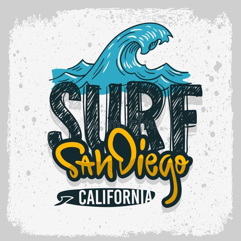 Συρμένο γράφοντας λογότυπο τύπων σχεδίου κυματωγών σερφ του Σαν Ντιέγκο Καλιφόρνια το χέρι υπογράφει την ετικέτα για την μπλούζα  διανυσματική απεικόνιση