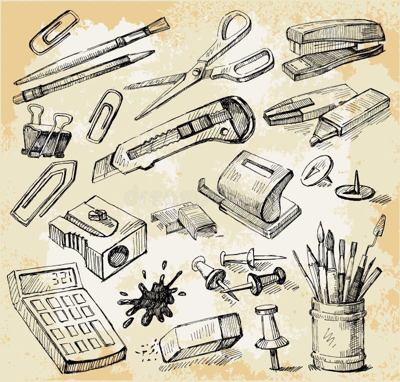 συρμένο γραφείο χεριών κάπ&om απεικόνιση αποθεμάτων