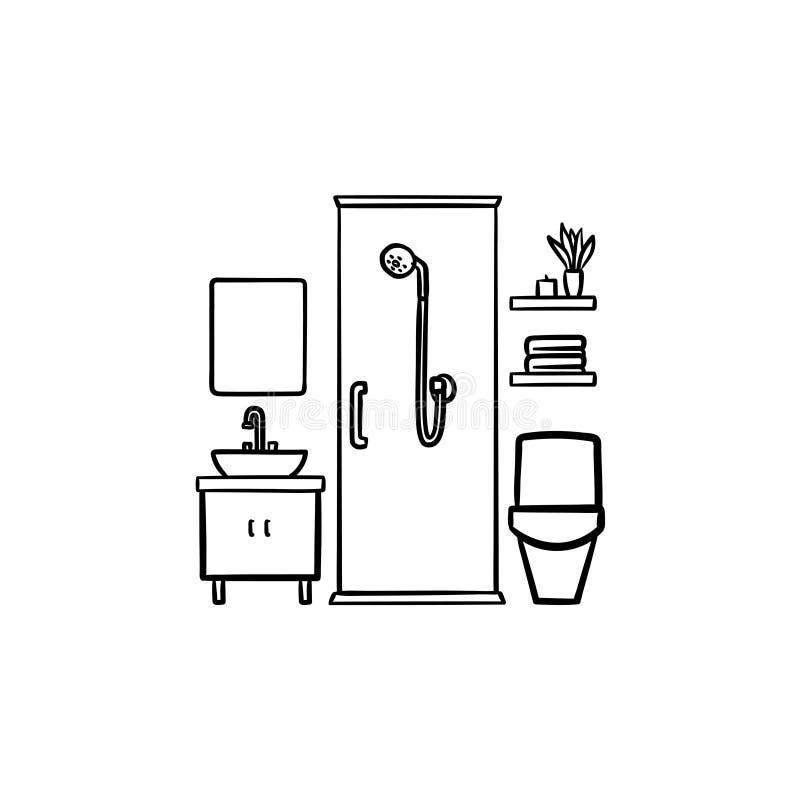 Συρμένο εικονίδιο περιλήψεων λουτρών χέρι doodle διανυσματική απεικόνιση