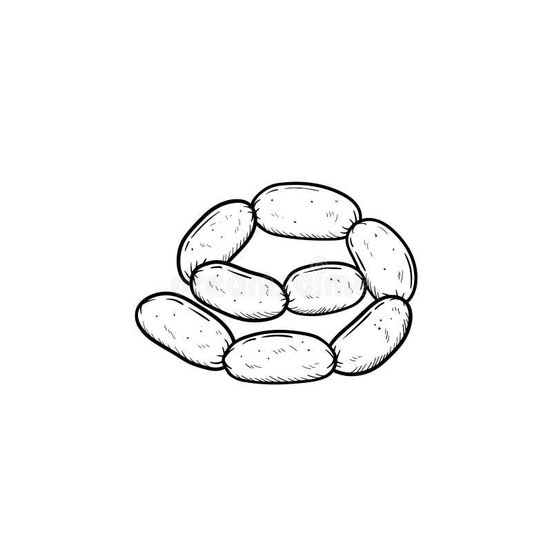 Συρμένο εικονίδιο σκίτσων αλυσίδων λουκάνικων χέρι διανυσματική απεικόνιση