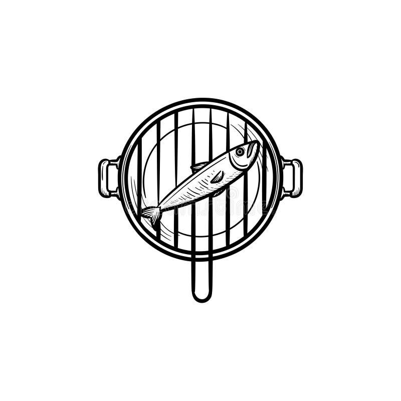 Συρμένο εικονίδιο σκίτσων σχαρών ψαριών χέρι διανυσματική απεικόνιση